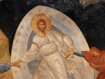 Picture of the fresco of Christ striding through hell
