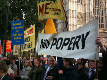 Picture of banners waving outside Westminster Abbey