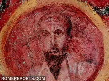 picture showing st paul in the catacomb fresco