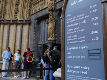 picture showing the admission prices displayed at the north door of the abbey