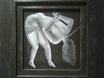 picture showing clive hicks-jenkins print of the woman taken in adultery... she is bound and being led by a rope round her neck