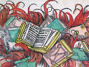 Engraving of book burning