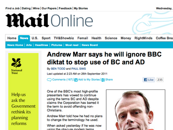Screen shot of the Daily Mail article
