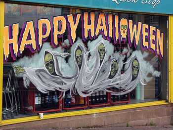 photo of a halloween shop display in northern ireland