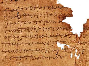 Photo of a papyrus fragment from Euclid's Elements of Geometry