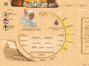 Screen shot of the Vatican homepage