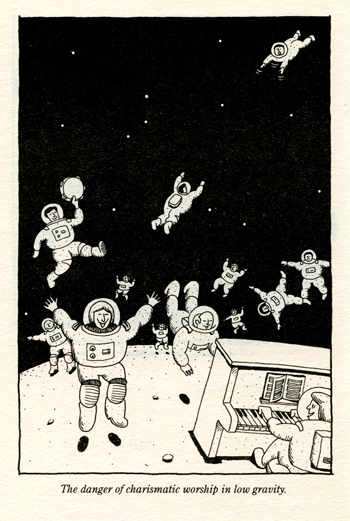 Cartoon showing the dangers of charismatic worship in low gravity