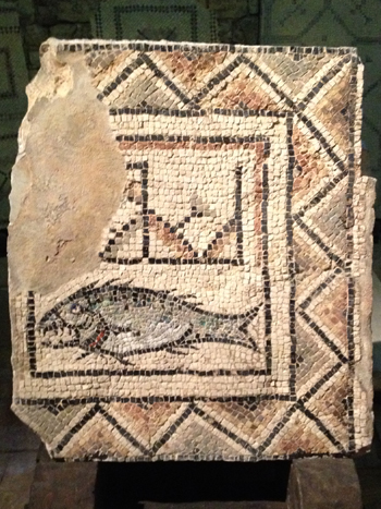 Photo of the 4th century fish mosaic of Poreč