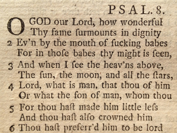 Photo of a page from an 18th century Prayer Book