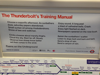 Photo of poem on the underground