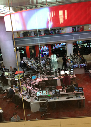 The BBC newsroom at full tilt at lunchtime today