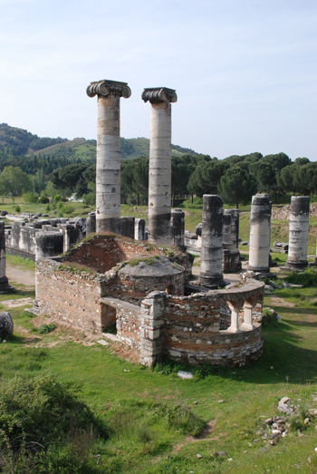 Photo of the Temple of Artemis and a Byzantine church in modern-day Sart, Turkey