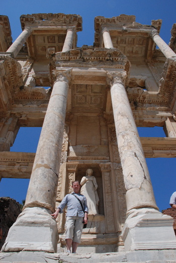 Photo of me with the Library of Celsus in Ephesus