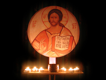 icon of christ on a stand